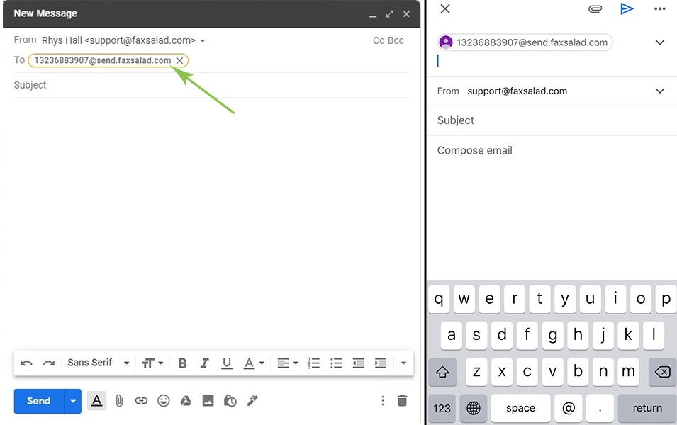 Entering fax number into send field on desktop and mobile Gmail client